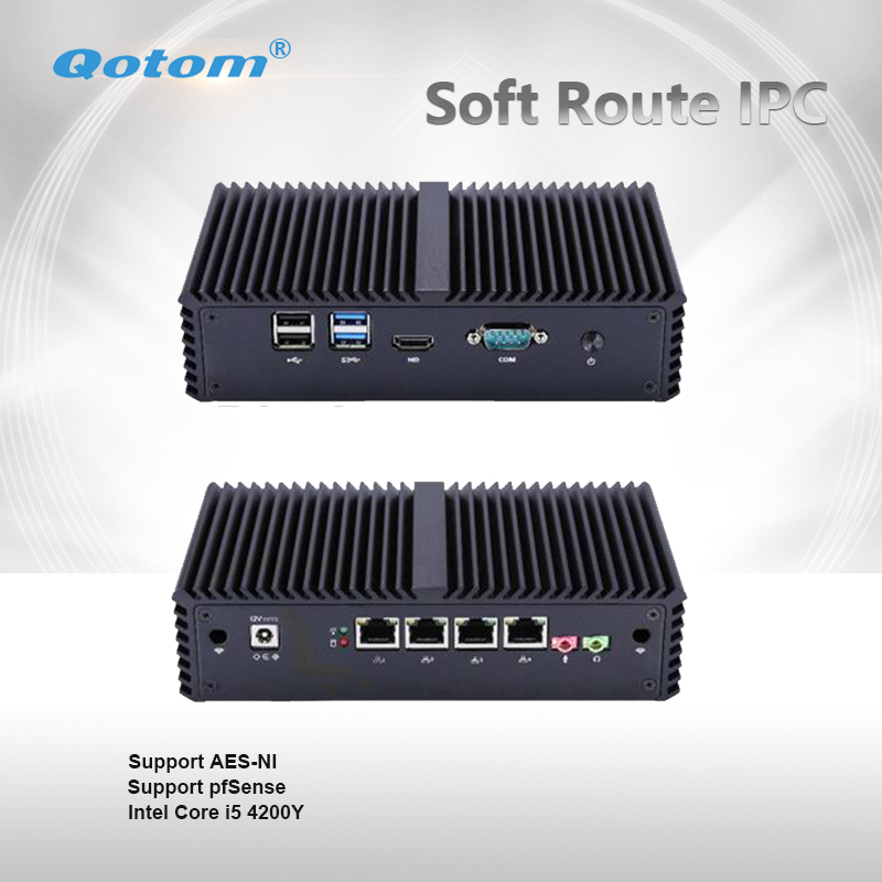 Qotom-Q350G4Y Qotom Firewall Little PC Core I5 With 4 Gigabit LAN AES-NI Fanless Tiny Computer