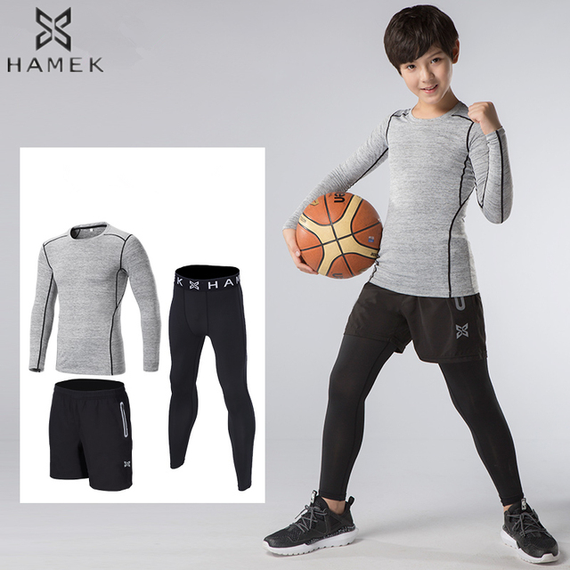 cef53f8fa90782 Kids Compression Pants Tracksuit Fitness Tights Running Sets Shorts  T-shirts Leggings Basketball Sportswear Gym Sports Suit 3pcs