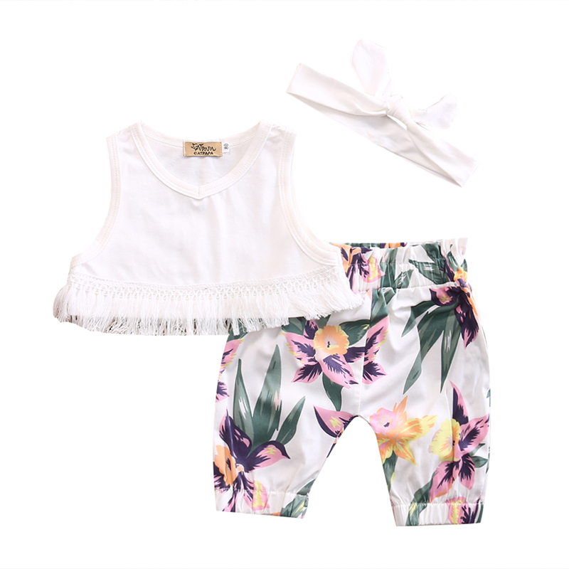 3pcs Floral Infant Baby Girl Clothes Sleeveless Cotton Tops Pants Headband Summer Outfits Sunsuit