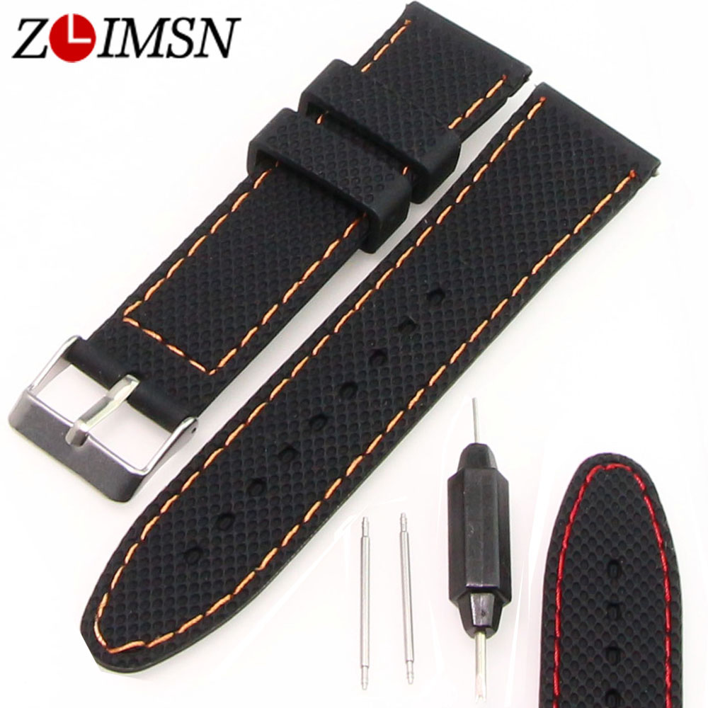 все цены на ZLIMSN Rubber Watchbands Orange Red Stitch Black Silicone Watch Band Strap Steel Buckle Relojes Hombre 2017 22mm 24mm Promotion онлайн