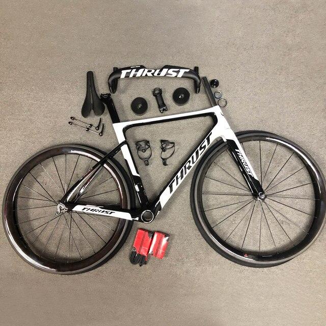 THRUST Carbon Bicycle Road Bike Frameset  Aero Racing Bicycle Carbon Fibre T1000 Bicicleta 50mm 700c Wheelset 25C Tire