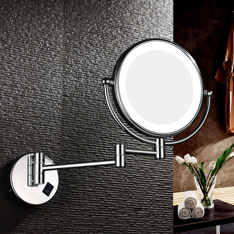 GURUN Lighted Vanity 7X Magnification Makeup Mirror Bathroom Wall Mount Double Sided Extendable Magnifying Shaving Mirror Chrome