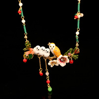 Dyxytwe Enamel Pendant Necklace Flowers Bird Owl Crystal Beautiful Romantic Chain For Women's Party Jewelry Gift