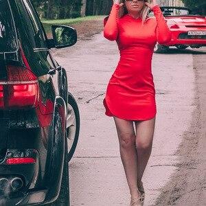 Image 4 - Borntogirl 女性朝スリムセクシーなフード付きドレス女性春秋冬長袖セクシーなワインレッドスエードドレスローブフェムセクシー
