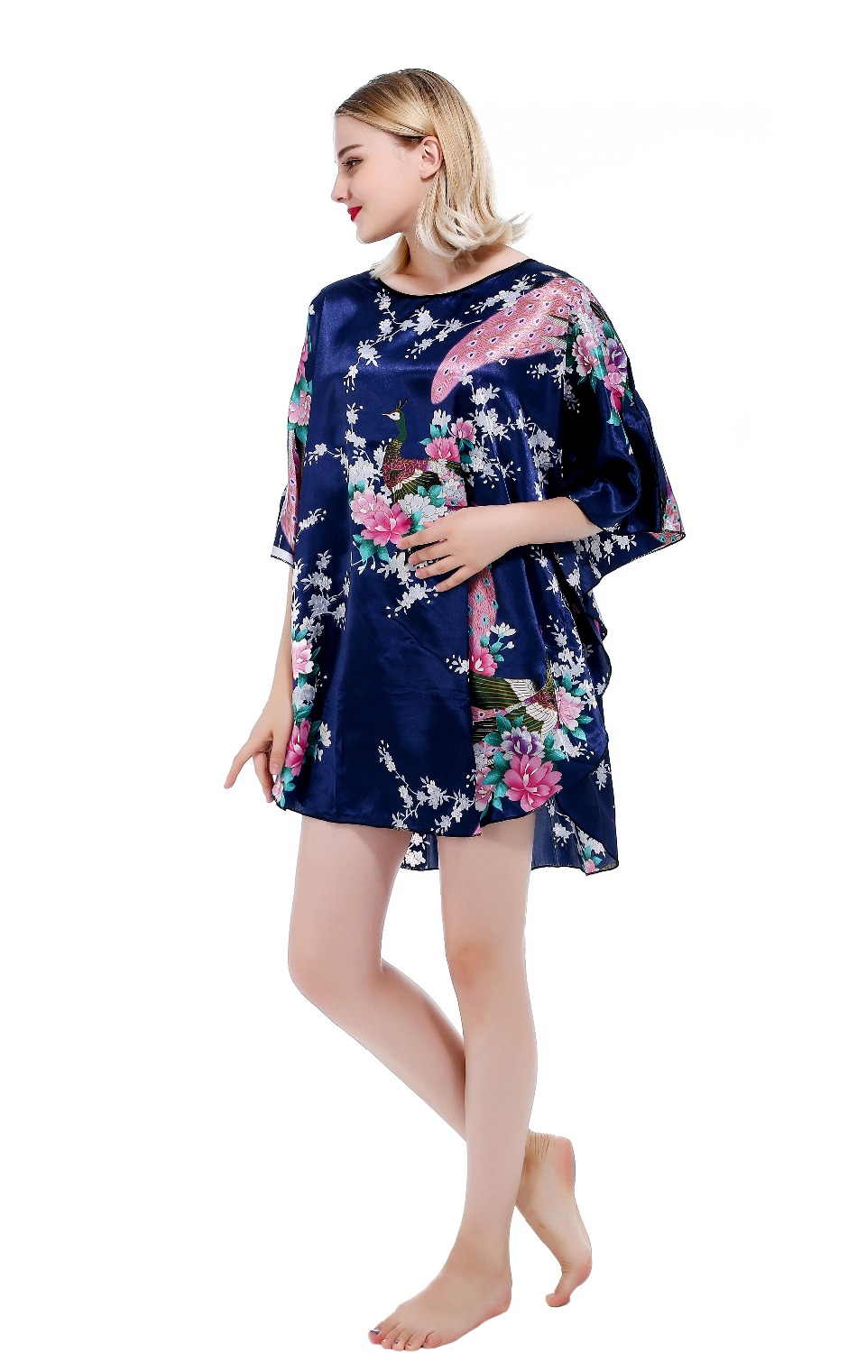 RB028 Summer Sexy Silk   Nightgown     Sleepshirts   Women Short-sleeves Sleepwear Lounge Casual Satin Silk Nightwear Female Dres