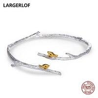 LARGERLOF 925 Sterling Silver Bracelet Bird And Branch Fine Jewelry Simple Vintage Bracelets For Women SZ37001