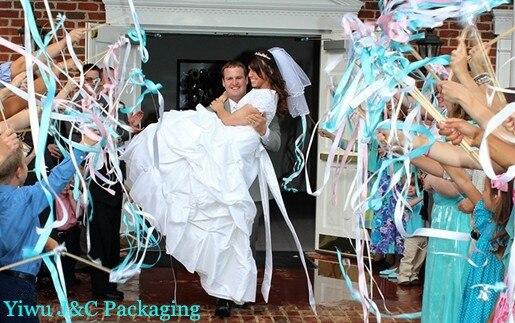 aliexpresscom buy free shipping 15pcs wedding 3 color ribbon wands wedding confetti stream ribbon sticks wands with 2 bellsmetal endjco ra02 from