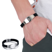 Black Silicone Bracelets Charm Wristband Bracelets Stainless Steel Freemason Jewelry for Men
