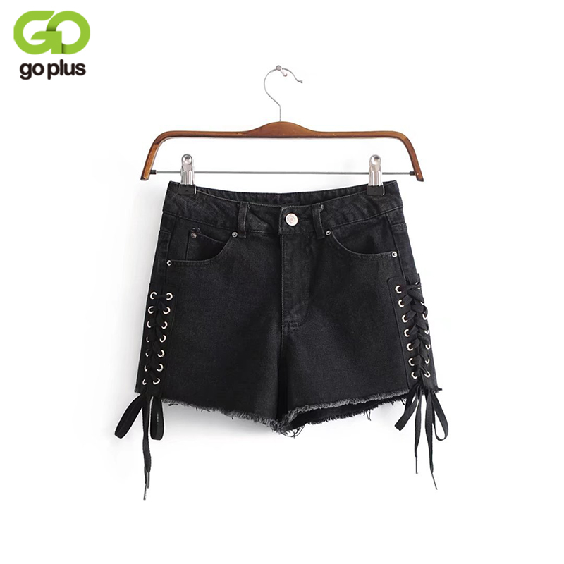 GOPLUS Denim Shorts 2019 Women's Fashion Brand Vintage Black High Waist Shorts Punk Sexy Lace Up Banadage Shorts C4963