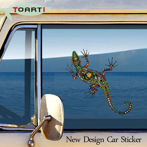 Image 2 - ملصقات مضحكة على شكل سحلية سمندر 14*14 سم من الفينيل لتزيين السيارة أكسسوارات تزيين للأولاد
