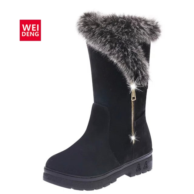 WeiDeng 2017 Suede Winter Fur Bling Shoes Plush Warm Snow Boots Ladies Winter Ankle Waterproof Zipper High Boots Women fashion
