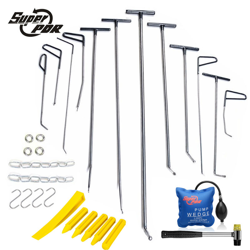PDR Rods Hooks Car Crowbar Pump Wedge PDR Toolkit Paintless Dent Repair Tools Profession Dent Removal