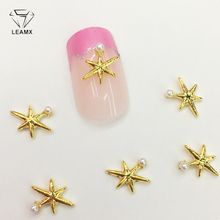 LEAMX 10 PCS/bag Star With Pearl Nails Art Decoration 3D Deaign Nail Charms Gold Alloy Jewelry For Manicure Decor 2019 New L381 leamx 50pcs bag nail art decoration 3d silver unicorn shape shiny horse alloy nails charms for manicure decor 12 8mm l460
