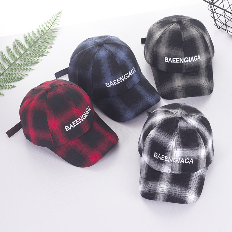 2018 New New Plaid Striped Baseball Cap Fashion With Rock Hat Sun Hat Male And Female
