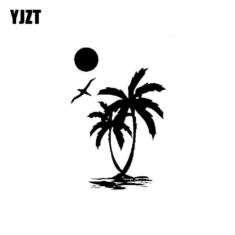 YJZT 9.8CM*14.6CM Interesting Sun Palm Tree Beach Original Delicate Nice Vinyl Decal Car Sticker Black/Silver C19-1553