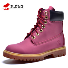 Z.Suo Genuine Leather Warm Snow Boots Lace Up Leather Boots Outdoor Casual Timber Boots Women Shoes Botas Hombre