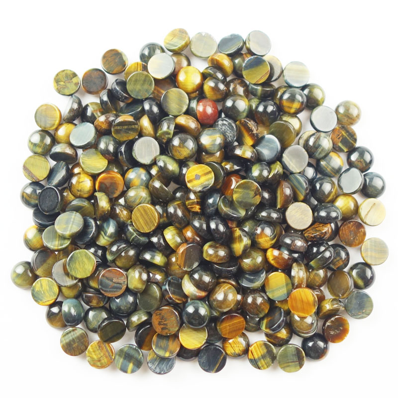 Free shipping 10pcs Beautiful Blue Tiger Eye Gem Round CAB CABOCHON 8x4mm fo-14(Min.order 10$ mix)
