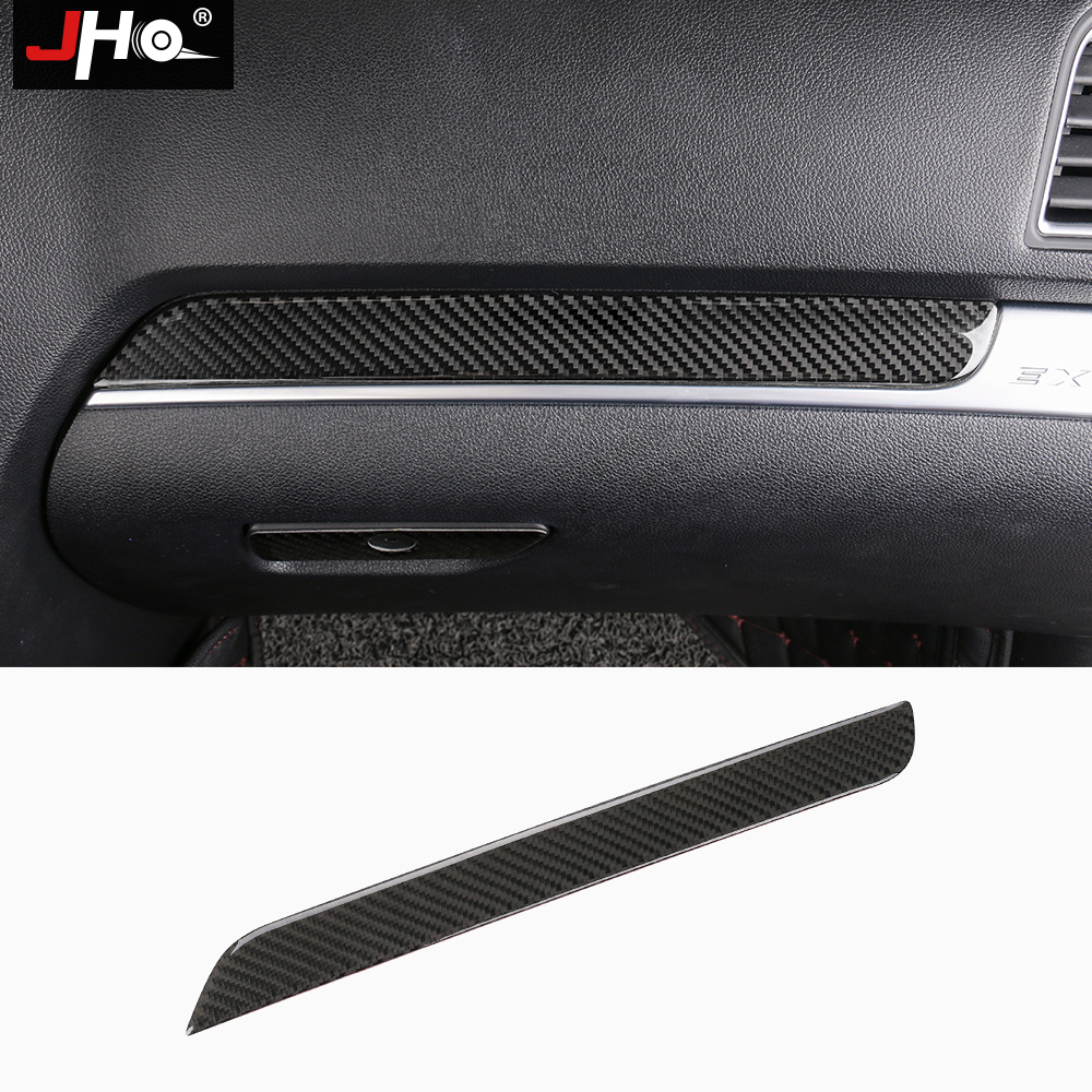 JHO Front Side Glove Storage Box Carbon Fiber Cover Trim for Ford Explorer 2013 2014 2015 2016 2017 2018 Car Styling Accessories