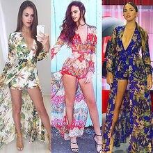 S-XL bayanlar uzun kollu maxi elbise 2016 yeni yaz çiçek kısa romper elbise bayanlar boho bölünmüş şifon plaj elbise vestido