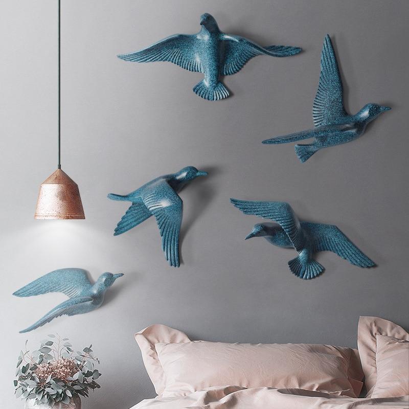 Европейский настенный светильник с птицами из смолы, украшение для дома, гостиной, дивана, телевизора, задний план, 3D настенная наклейка, Настенная роспись, орнамент, искусство - 5