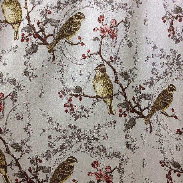 Vintage Birds Trees Jacquard Woven Linen Like Curtain Drapery Fabric Embroidery Sheer Railroaded 280cm Width