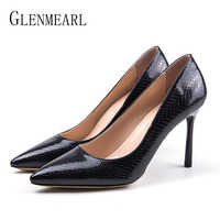 Women Shoes High Heels Pointed Toe Woman Pumps Sexy Snake Party Shoes Spring Slip On Office Ladies Shoes Dress Black Plus SizeDE