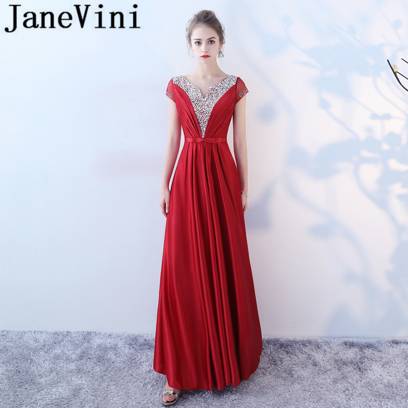 JaneVini Luxurious Red Long   Bridesmaid     Dresses   With Sleeves V Neck Beaded Sequined Backless Satin Floor Length Vestiti Damigella