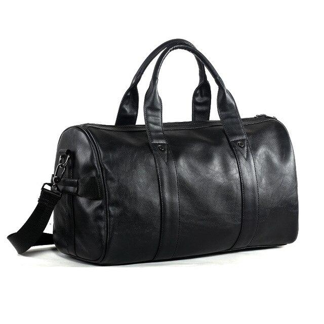 Бесплатная доставка популярный дизайн искусственная кожа выходные вещевой мешок портативный Highcapacity мужской досуг бизнес дорожная сумка черная сумочка