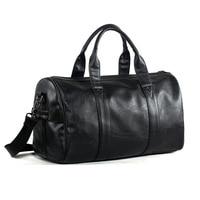 Free Shipping Popular Design PU Leather Weekend Duffel Bag Portable Highcapacity Men's Leisure Business Travel Bag Black Handbag