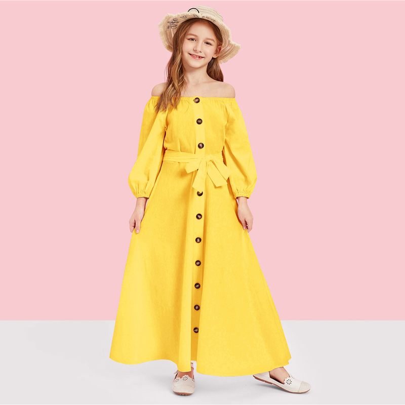 Image 2 - SHEIN Kiddie Off the Shoulder Button Front Belted Maxi Casual Girls Dress 2019 Summer Long Sleeve Fit and Flare Kids Dresses-in Dresses from Mother & Kids