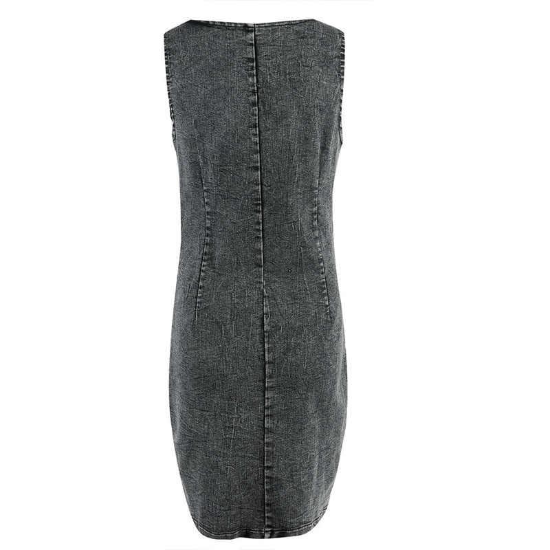 2019 Новое Женское джинсовое платье с квадратным вырезом без рукавов на молнии джинсовое платье мини Винтажное облегающее вечерние Клубные платья-карандаш синий/серый