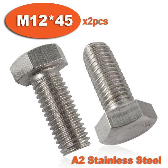 M5 x 45 Hex Head Set Screws Full Thread Bolts A2 stainless 4 Pack each DIN 933