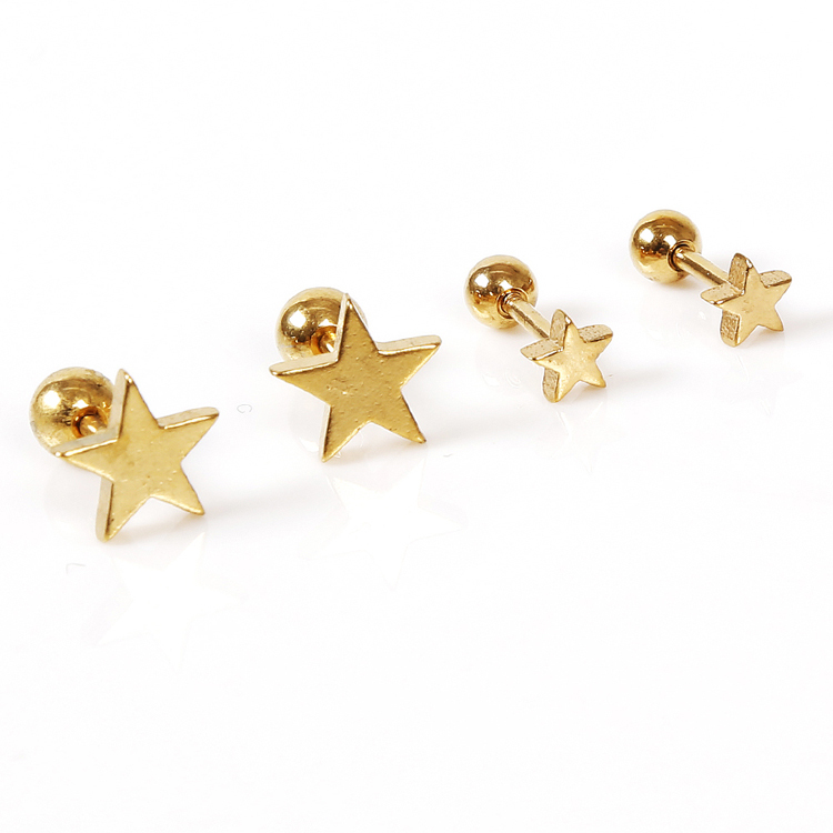 2017 1PC Hot Sale Unisex Exaggerated Personality Temperament Star Pentagram Shaped Earring Charming Jewelery Accessories