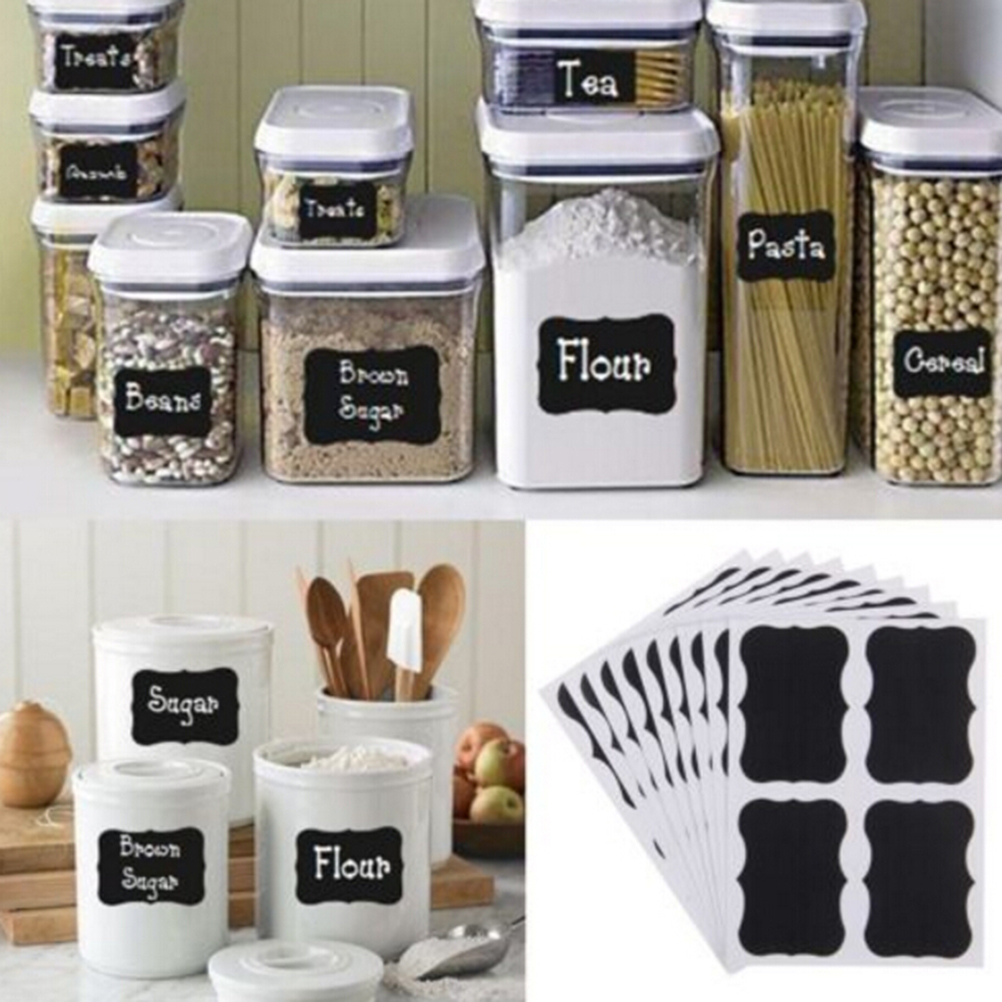 36Pcs/pack Chalkboard Chalk Board Stickers Blackboard Craft Kitchen Jar Organizer Labels Black Bottle DIY Stiky Stickers