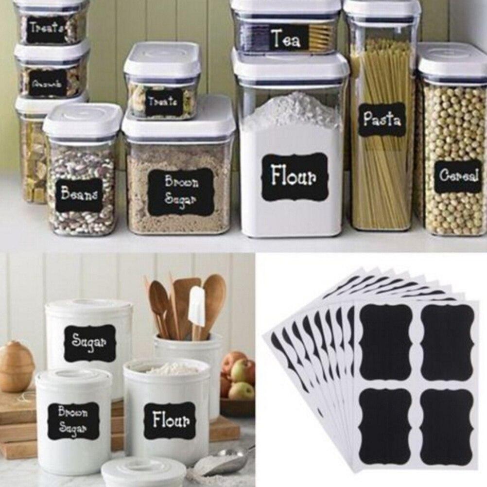 36Pcs/pack Chalkboard Chalk Board Stickers Blackboard Craft Kitchen Jar Organizer Labels Black Bottle DIY Stiky Stickers
