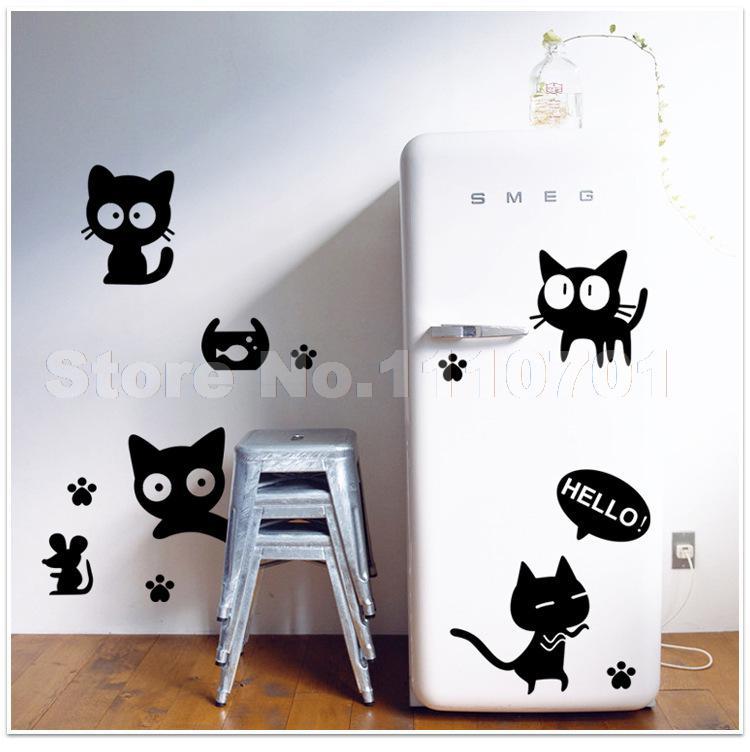 Cartoon Black Cat Cute DIY Vinyl Wall Stickers For Kids