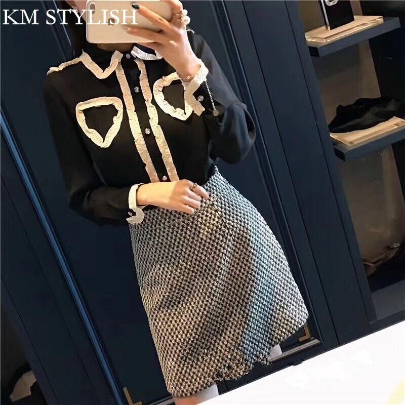 2017 autumn new temperament long-sleeved chiffon shirt + high waist plaid woolen skirt 2 piece set black / apricot color