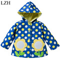 LZH Boys Raincoat Coat Polka Dot Printed Coat Jacket For Girl Sunflower Embroidery Jacket 2017 New Kids Spring Children Clothes