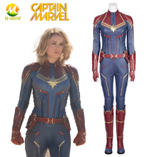 Captain Marvel Cosplay Costume Ms Marvel Jumpsuit Superhero Carol Danvers Cosplay Suit Halloween Costume for Women Custom Made