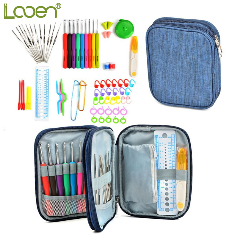 Looen 72pcs Crochet ілмекпен жиынтығы Soft Rubber Handle Yarn Knooking Knuckle Knuckle Knuckle Needle with Blue Case Knitting Accessories