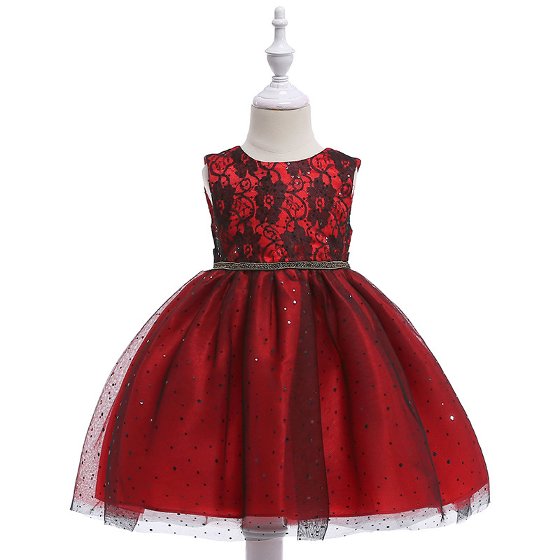 High Quality Knee-Length Flower Girls Dress With Ribbon Belt Mesh Ployster Tiered Girls Evening Prom Party Dress