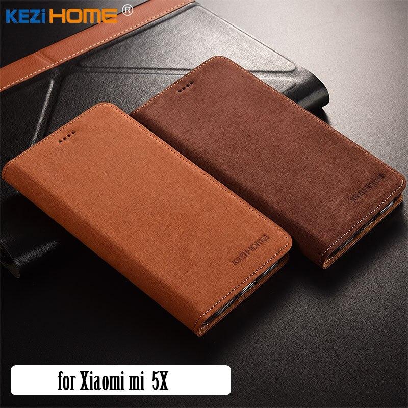 for Xiaomi mi 5X case KEZiHOME Luxury Matte Genuine Leather Flip Stand Leather Cover capa For Xiaomi Mi A1 5.5'' cases coque