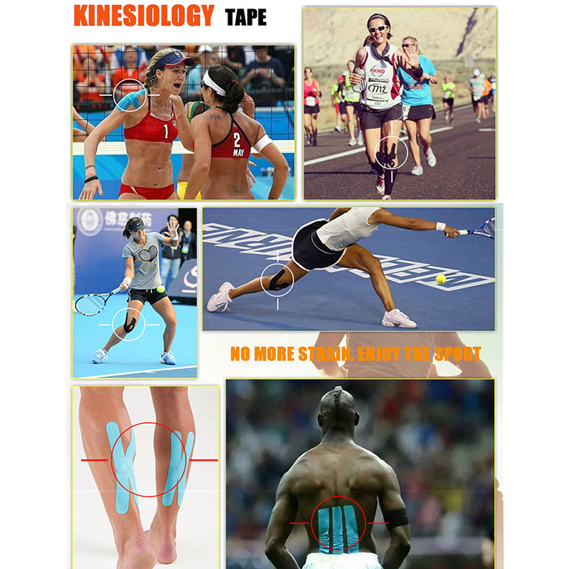 Image 4 - 2Size Kinesiology Tape Athletic Tape Sport Recovery Tape Strapping Gym Fitness Tennis Running Knee Muscle Protector Scissor-in Elbow & Knee Pads from Sports & Entertainment