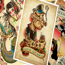 ReCreative Tattoos Pattern Manuscript Vintage Kraft Paper Poster Wall Stickers Painting Body Art Tattoo Barber Shop Decoration B(China)