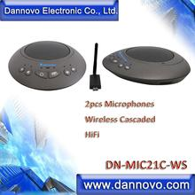 DANNOVO 2pcs Cascaded Wireless Microphone for Big Room, WebEx, Microsoft Lync, Skype for Business, BlueJeans, Zoom & Jabber