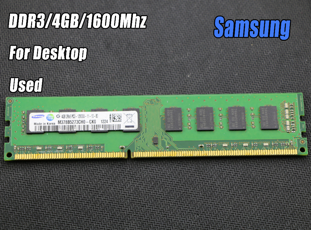Used original samsung 4GB DDR3 PC3-12800 1600MHz Desktop PC DIMM Memory RAM 240 pins For intel for amd Fully compatible 4g 1600 adata ddr3 1600 2g so dimm 2gb memory module storage ram for notebook laptop