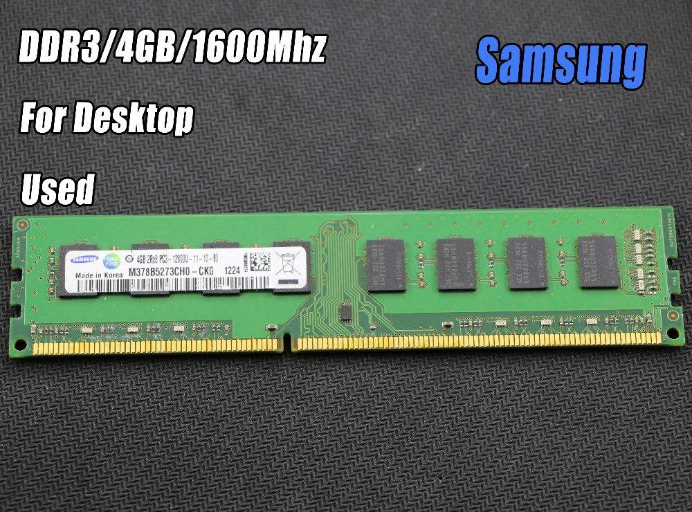 Utilisé original samsung 4 GB DDR3 PC3-12800 1600 mhz De Bureau PC DIMM Mémoire RAM 240 broches Pour intel pour amd Entièrement compatible 4g 1600