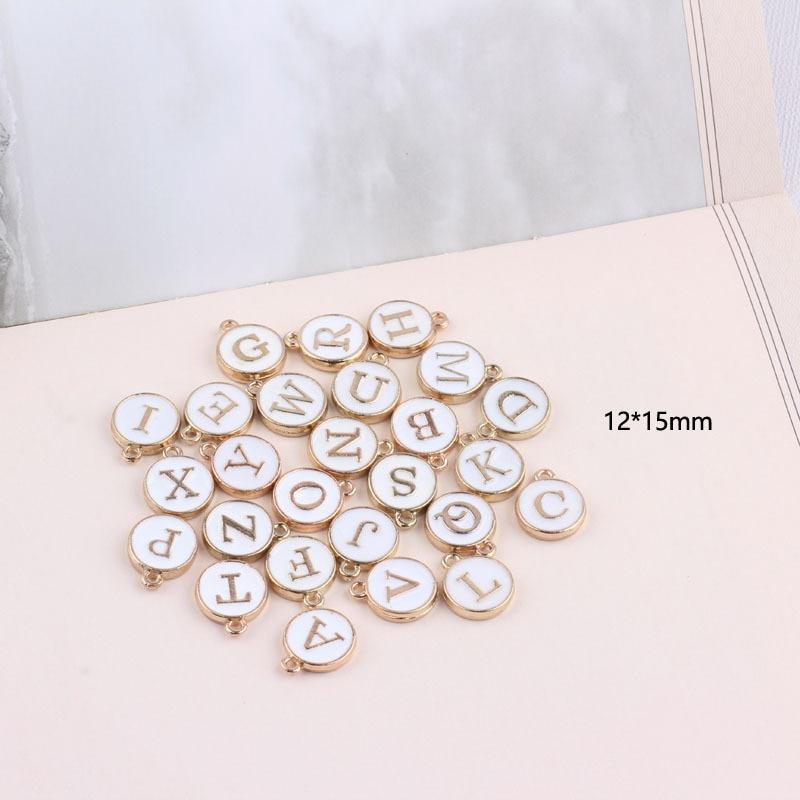 10pcs/26pcs  Alphabet Letter Double Face Enamel Charms  Gold color 41*24mm pendants jewelry making Handmade craft 2