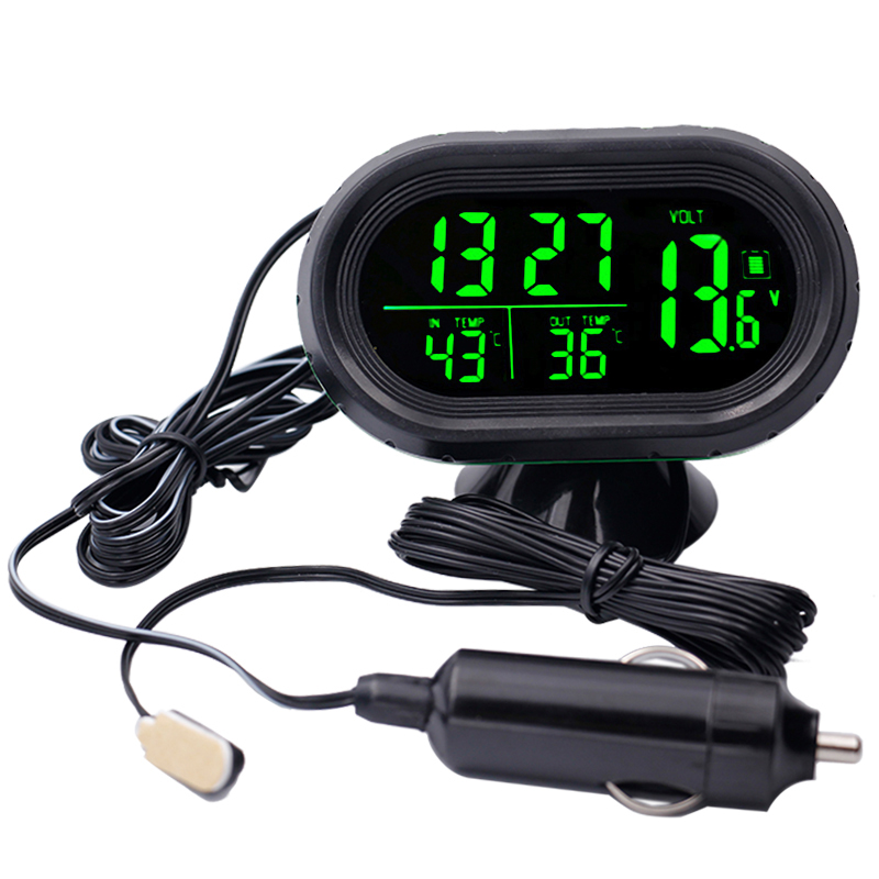 12V - 24V Digital Car Thermometer Voltage Meter Monitor Luminous Clock Auto Time Date Dual Temperature Freeze Alert 40% off цена