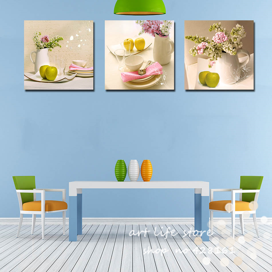 3 panels home decoration art paintings kitchen fruit for Kitchen colors with white cabinets with large abstract canvas wall art